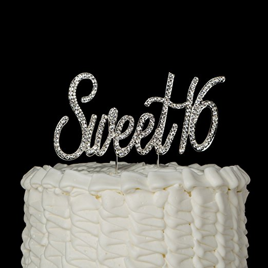 """Sweet 16 Cake Topper Crystal Rhinestone 16th Birthday Decoration Party Supplies (""""Sweet 16"""" Silver)"""