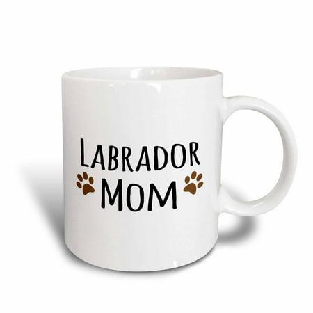 3dRose Labrador Dog Mom - Lab Doggie by breed - brown muddy paw prints - doggy lover pet owner mama love, Ceramic Mug, 11-ounce