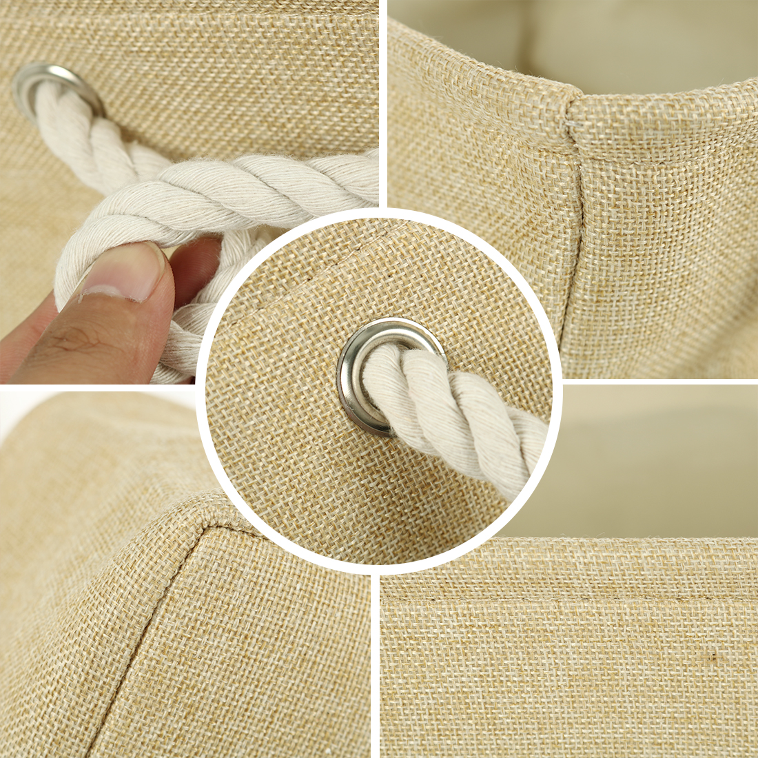 Home Fabric Storage Basket Bin w Dual Rope Handles for Laundry Khaki, Small - image 1 de 8