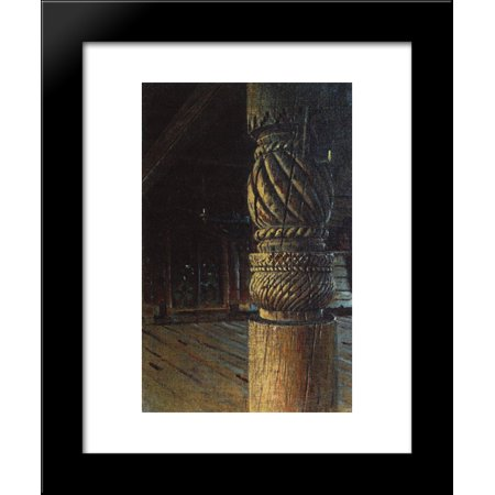 Carved pillar in the refectory of the Petropavlovsk church in the village Puchugi in Vologda province 20x24 Framed Art Print by Vasily Vereshchagin
