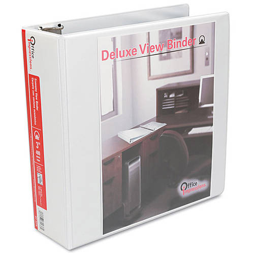 "Office Impressions Round Ring Economy Vinyl View Binder, 3"" Capacity, White, 2 Pack"
