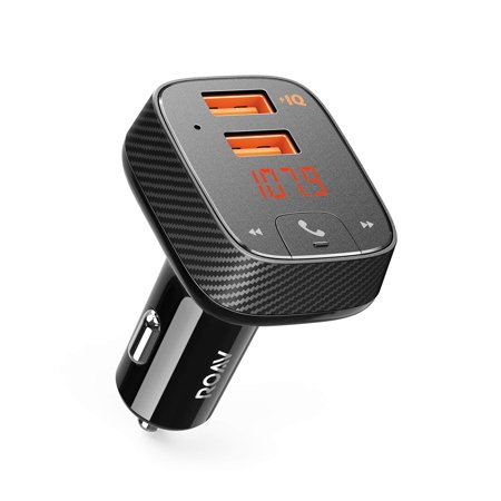 Anker Roav SmartCharge F2 Bluetooth FM Transmitter, Audio Adapter and Receiver, Car Charger with Bluetooth 4.2, Car Locator, App Support, 2 USB ports, PowerIQ, AUX Out, and USB Drive to Play MP3 Files