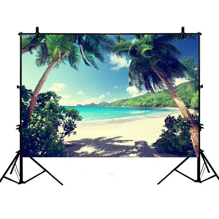 PHFZK 7x5ft Tropical Palm Trees Backdrops, Beach Takamaka Mahe island Seychelles Photography Backdrops Polyester Photo Background Studio Props](Beach Photo Backdrop)