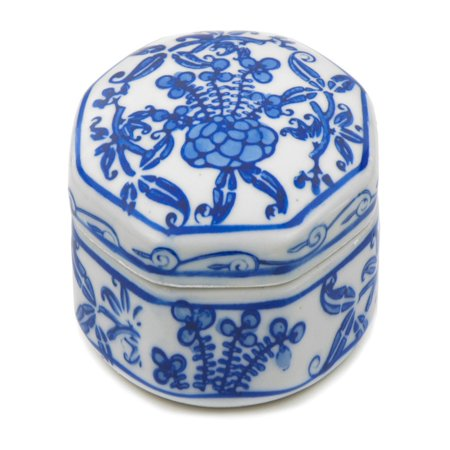 Oriental Furniture 3 in. Floral Small Porcelain Jewelry Box - Blue / White