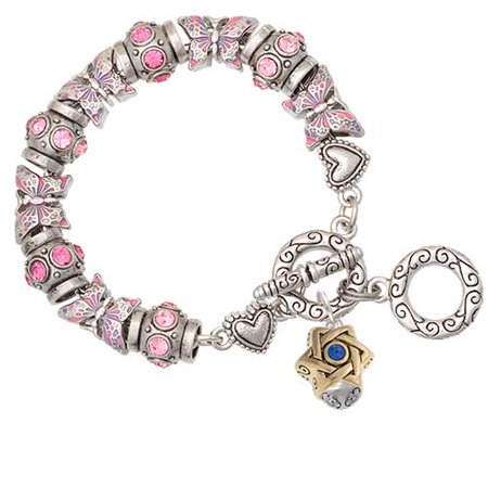 Crystal Star Charm Bracelet - Goldtone Star of David with Blue Crystal Spinner Pink Butterfly Bead Charm Bracelet