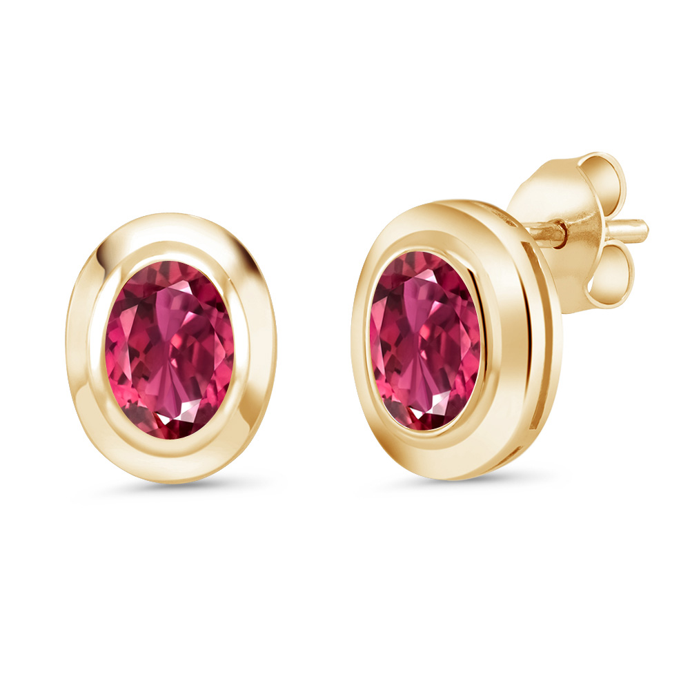 1.40 Ct Oval 7x5mm Pink Tourmaline 18K Yellow Gold Plated Silver Stud Earrings by