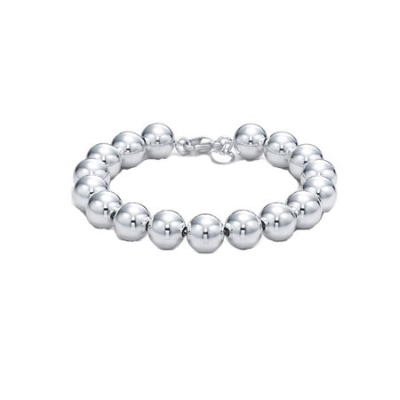 Sterling Silver 10mm Round Ball Bead Bracelet 7.5