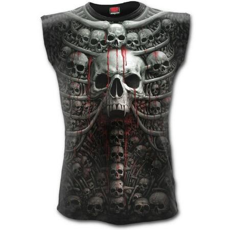Direct DEATH RIBS Cotton Allover Sleeveless T-Shirt BlackSkulls