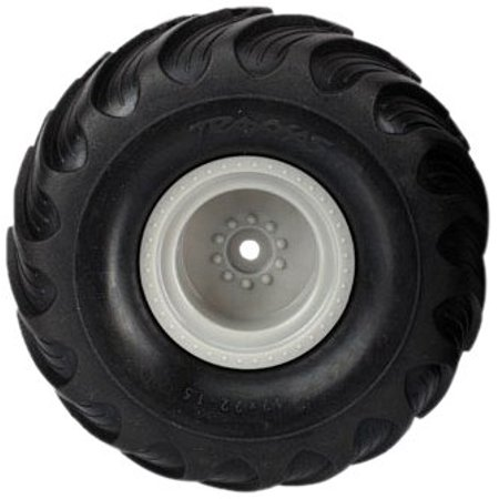 """Traxxas 7265 Dual-Profile (1.5"""" outer, 2.2"""" inner) Monster Truck Tires Pre-Glued on Grey Wheels (pair) - image 1 de 1"""