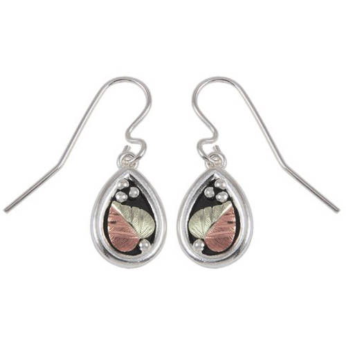 Black Hills Gold Sterling Silver Antiqued Drop Earrings