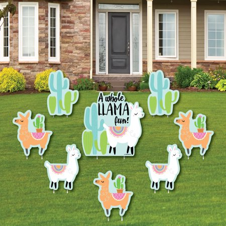 Whole Llama Fun - Yard Sign & Outdoor Lawn Decorations - Llama Fiesta Baby Shower or Birthday Party Yard Signs - 8 Ct