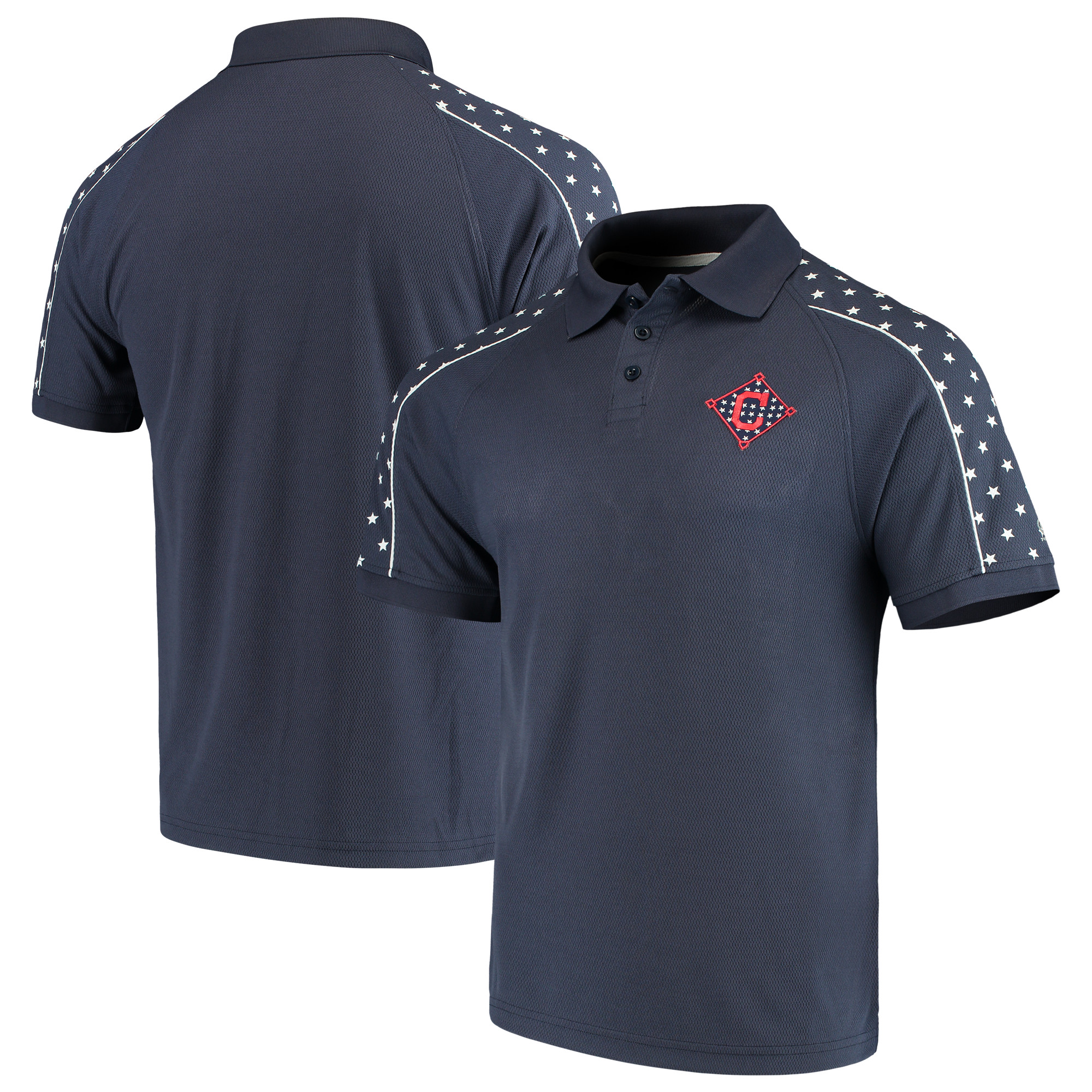 Cleveland Indians Stitches 2018 Stars & Stripes Spangled Banner Polo - Navy