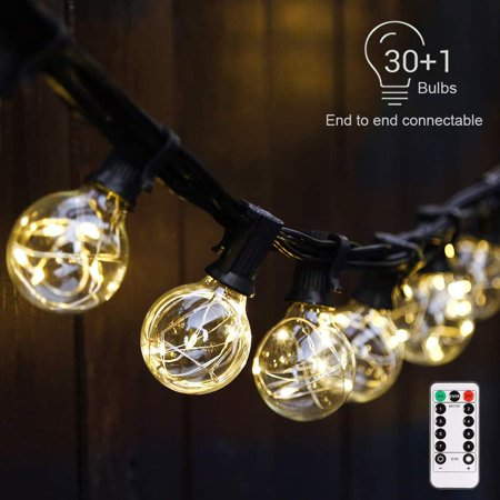G40 Dimmable Globe String Lights Remote, 30LED Bulbs 32.8ft Indoor/Outdoor String Lights Linkable Waterproof Patio Party Wedding Gazebo Backyard Bedroom Decor (Warm White with Remote Control) Warm whi