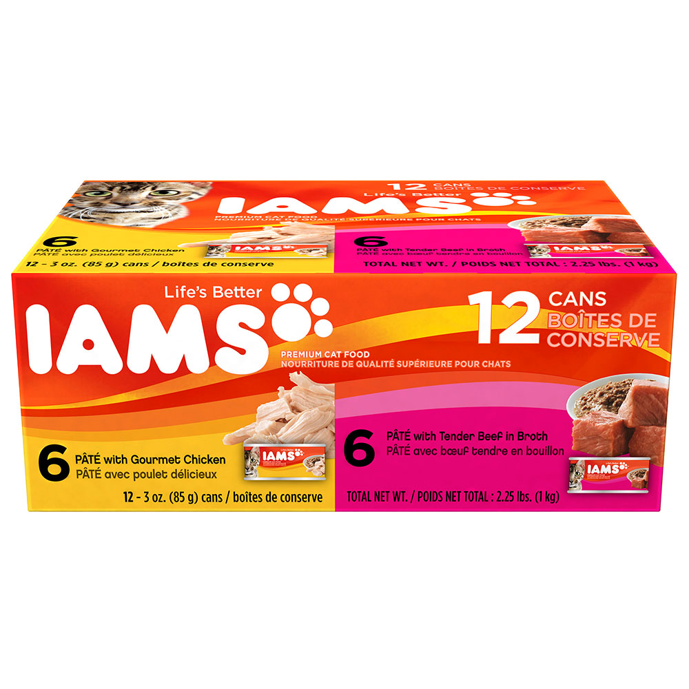 IAMS Pate Variety Pack Gourmet Chicken and Tender Beef Canned Cat Food 3 Ounces (Pack of 12)
