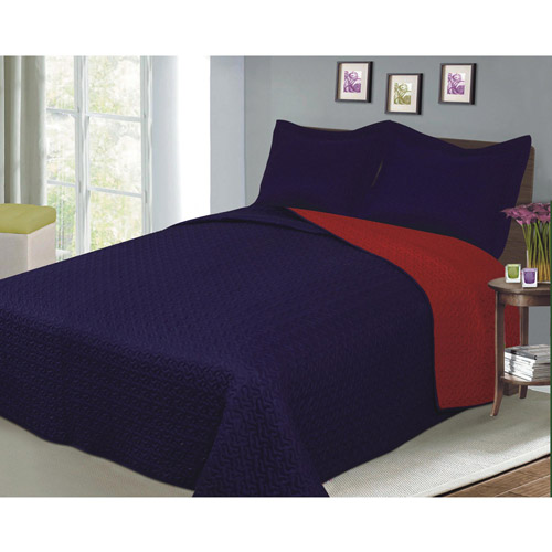 Luxury Fashionable Reversible Solid Color Bedding Quilt Set, Navy/Red