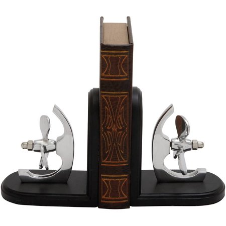 (Decmode Aluminum Wood Bookend Pair, Multi Color)