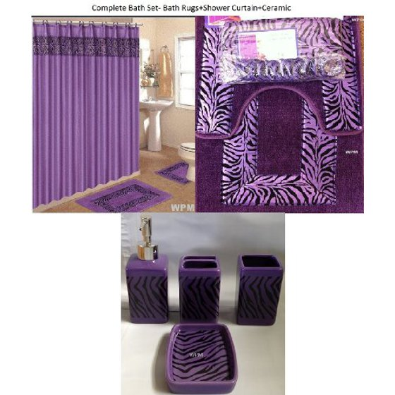 Walmart Purple Rug: 19 Piece Bath Accessory Set Purple Zebra Bathroom Rugs