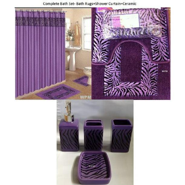 Purple Zebra Bathroom Rugs, Black And Purple Bathroom Sets