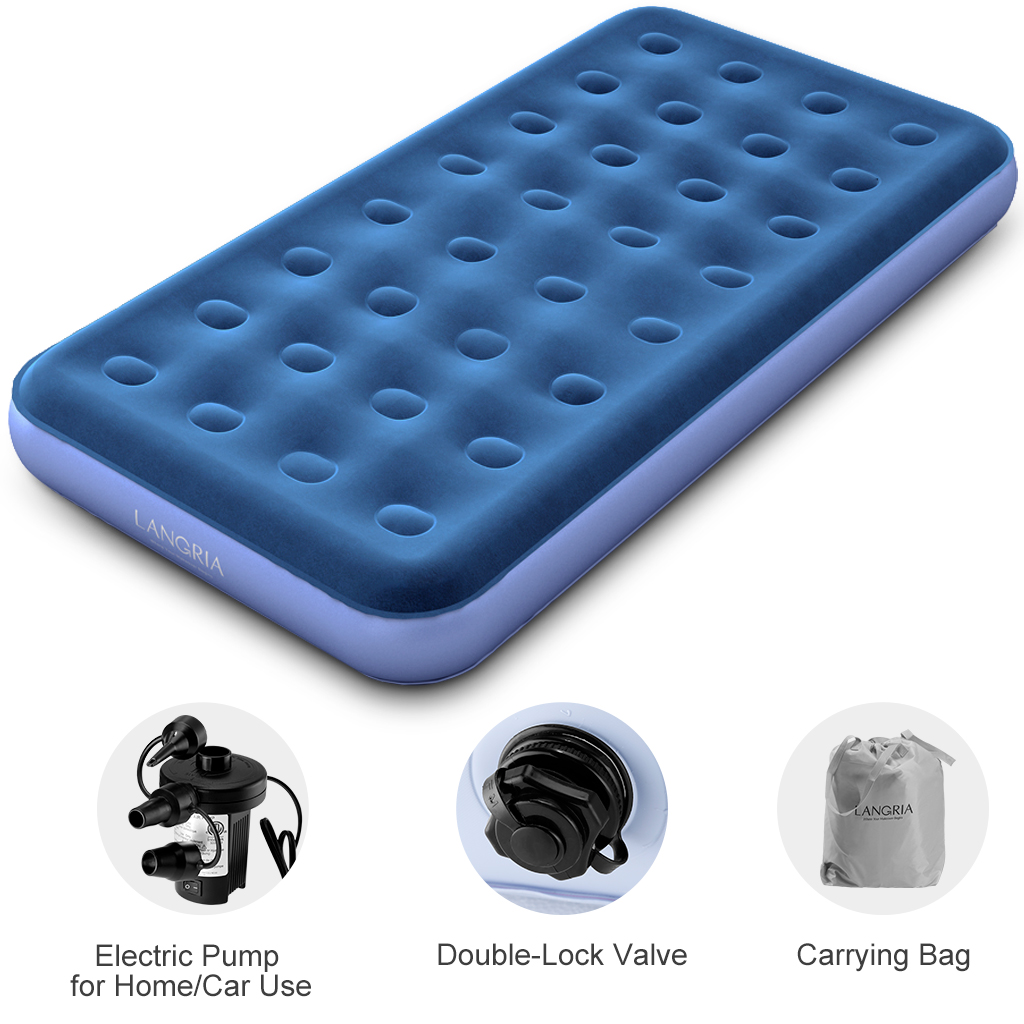Langria Air Mattress Blow Up Elevated Raised Air Bed Inflatable Airbed With Handheld Electric Pump Storage Bag And Repair Patches Included 74 X 39 X 8 5 Inches Blue Walmart Com Walmart Com