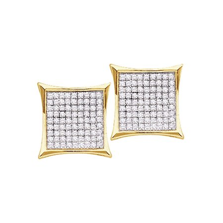 10kt Yellow Gold Womens Round Diamond Kite Cluster Earrings 7/8 Cttw