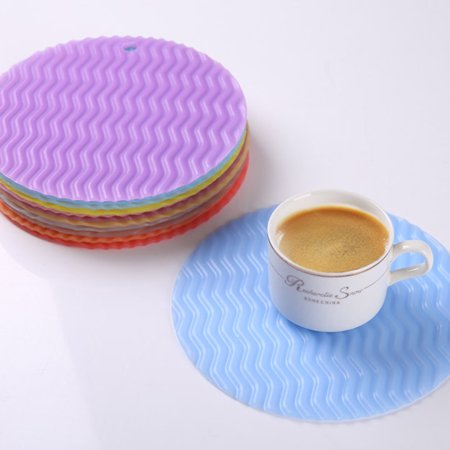 Round Wave Placemat Kitchen Dinner Table Pad Heat-resistant Place Mats Coasters Non Slip Tableware Mat Rancom Color - image 3 of 9