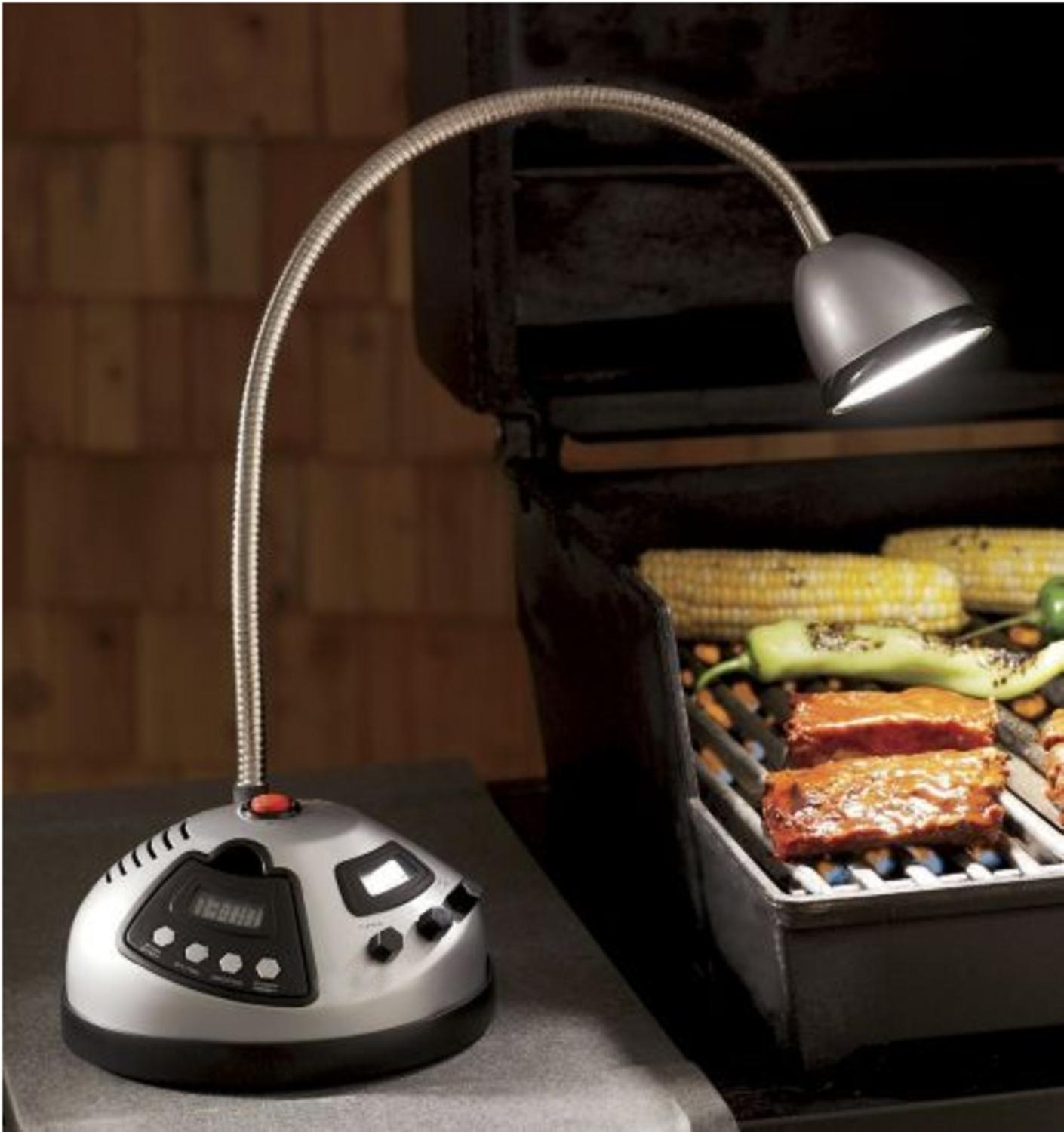 Deluxe Adjustable Silver Summer Outdoor Grill Light with Digital Timer and Radio
