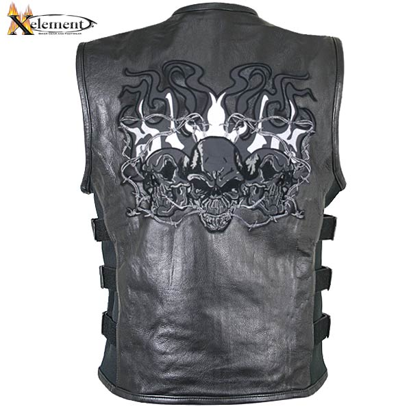 Xelement B95100 Mens Black Leather Motorcycle Vest with S...