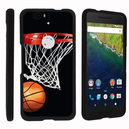 Huawei Google Nexus 6P   Snap Shell  Matte Black  Snap On Hard Plastic Protector With Non Slip Coating With Unique Designs   Basketball Swish