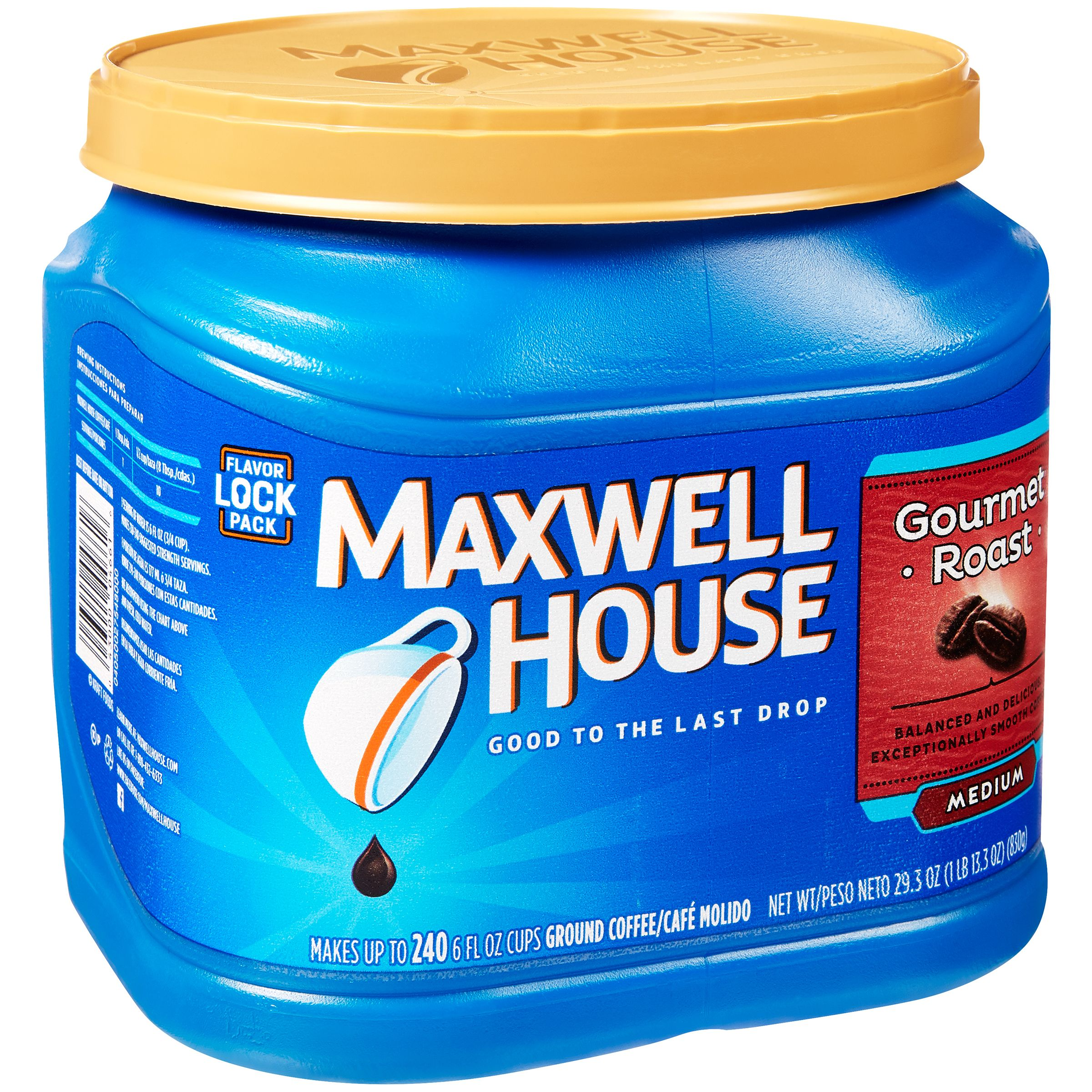 Maxwell House Gourmet Medium Roast Ground Coffee, 29.3 OZ (830g) Canister