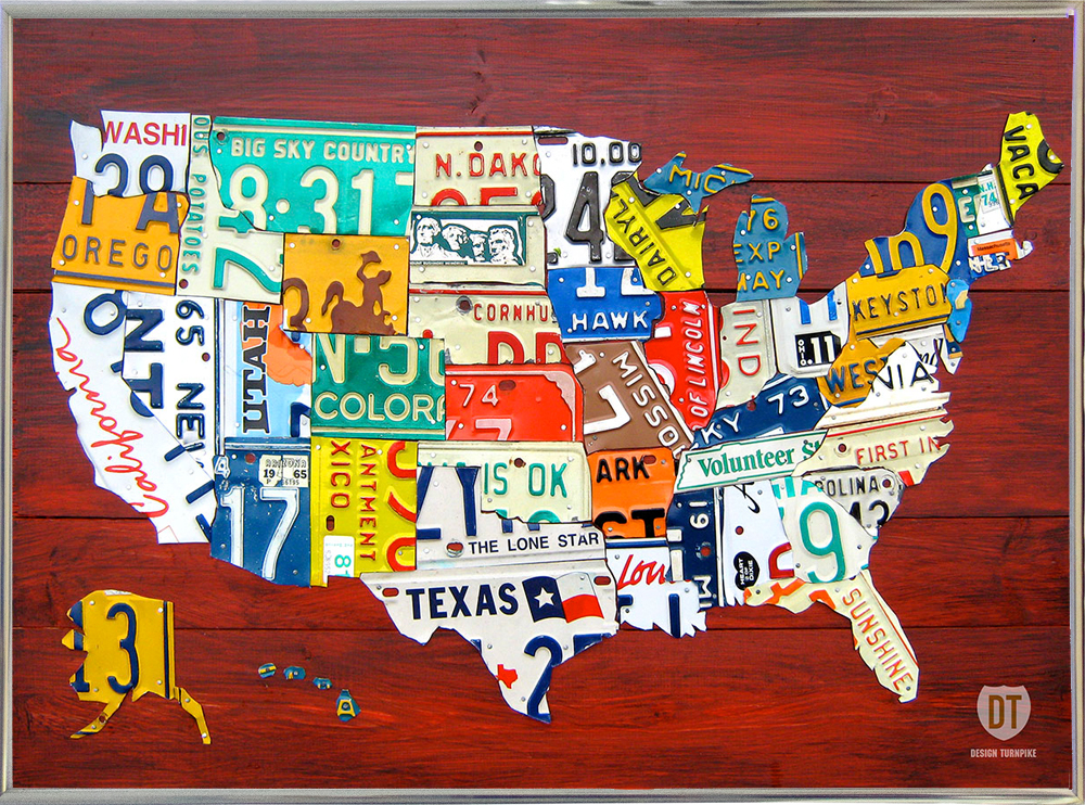 Us Map Made Out Of License Plates.License Plate Map Usa Davbow108513 Print 8 X11 By Design Turnpike