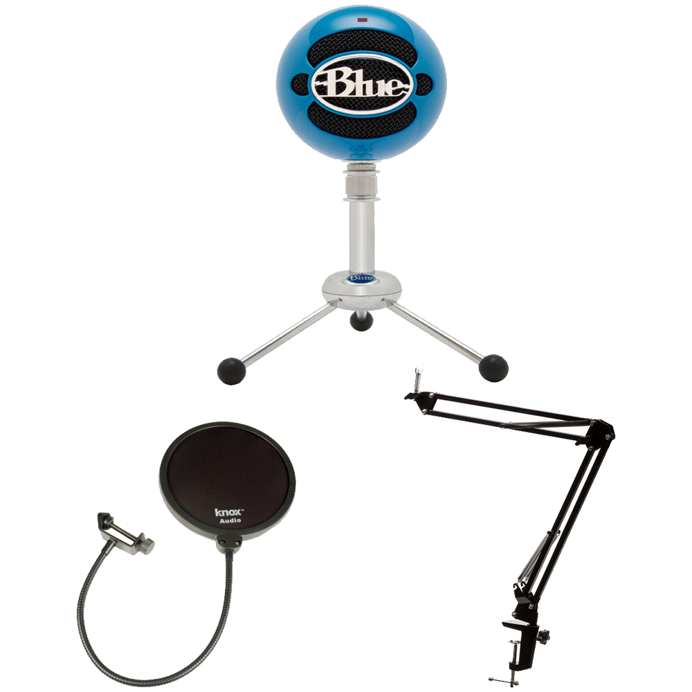 Blue Microphones Snowball USB Mic - Blue with knox Boom Arm Stand and Pop Filter