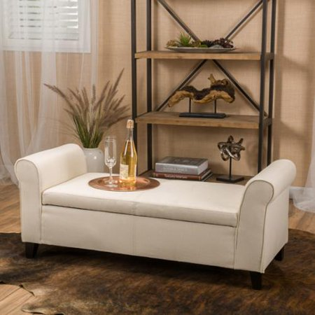 Stetson Armed Beige Fabric Storage Bench