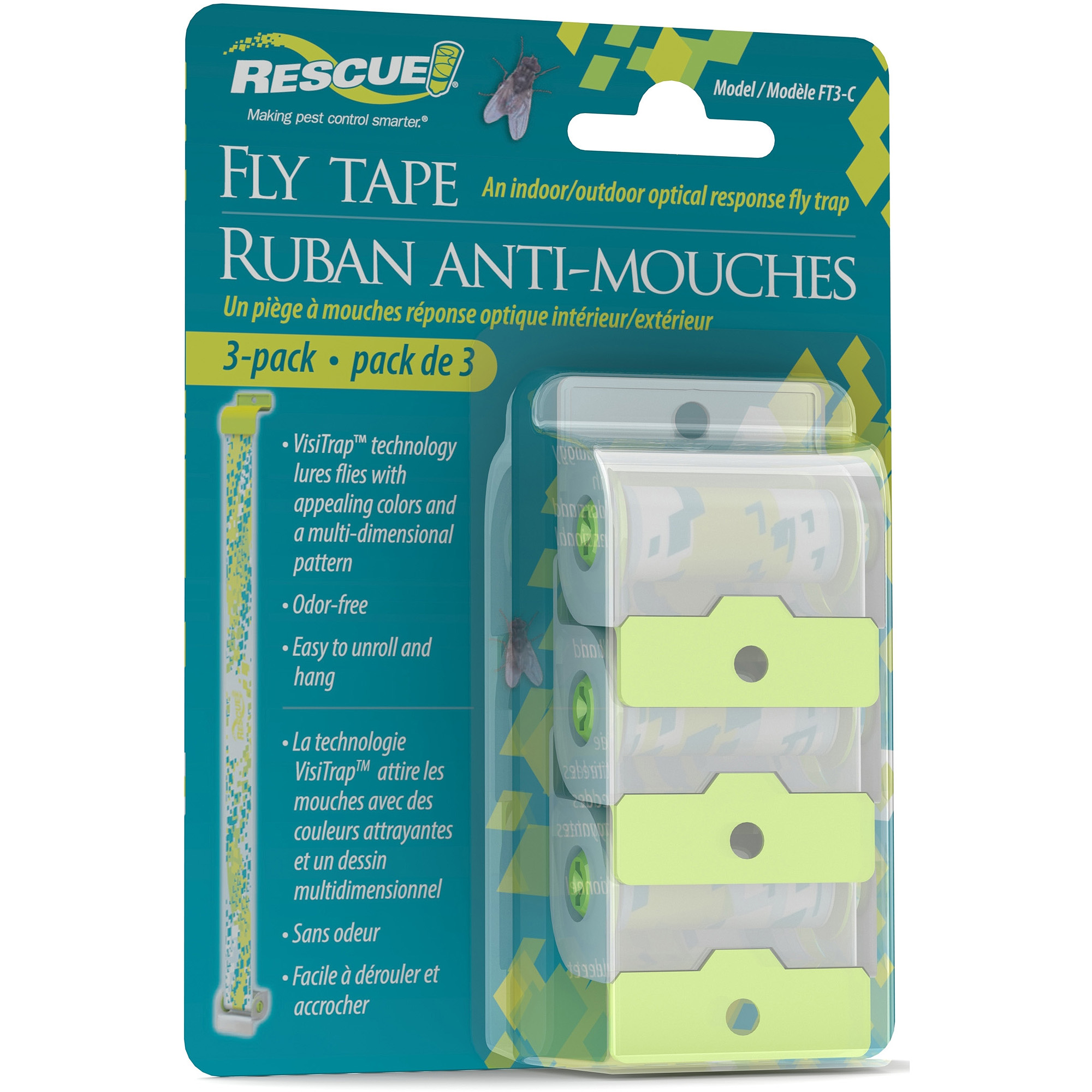 Rescue Indoor & Outdoor Fly Tape Insect Control, 3 units
