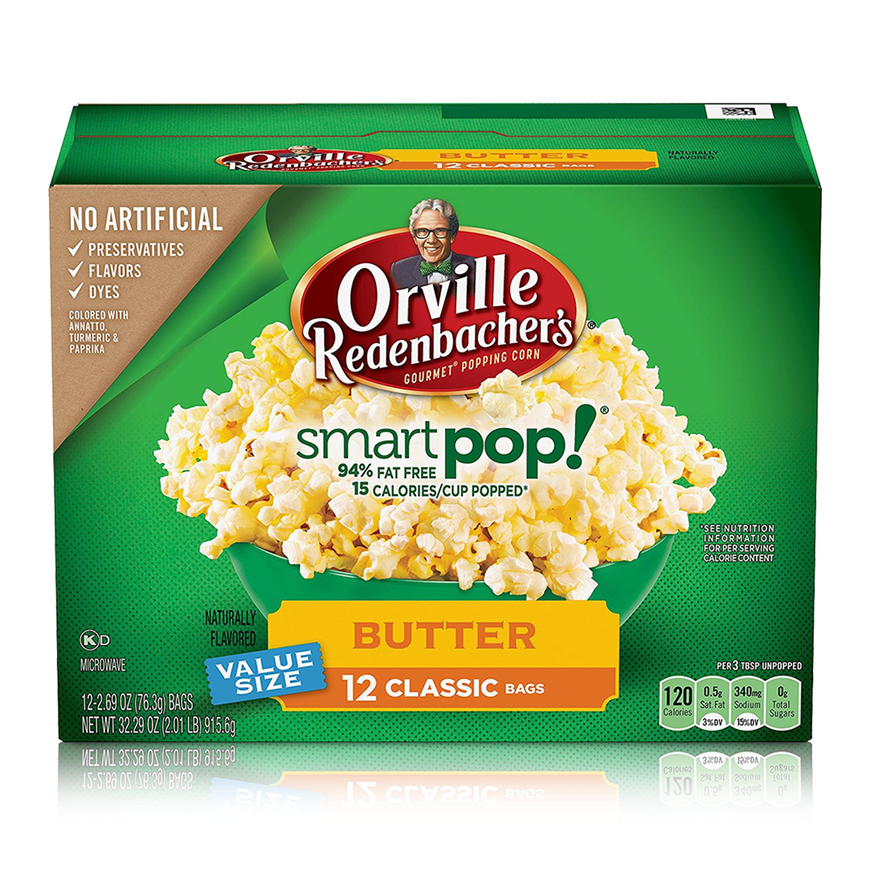 Orville Redenbacher's SmartPop! Butter Microwave Popcorn, 2.69 Ounce Classic Bag, 12-Count