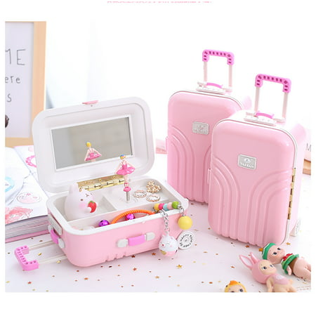 Peralng Women Girls Portable Travel Music Jewelry Box with Make Up Storage Grid Small Jewelry Box Trolley case design Mirrored Holder for Rings, Earring, Necklace, Bracelet, Pink ()