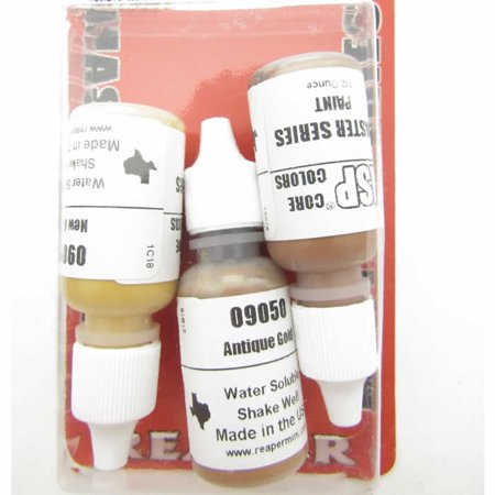 Gold-toned Metal Colors Triad (09049-09051) Acrylic Hobby Paint Reaper Master Series (Best Airbrush Paint For Metal)