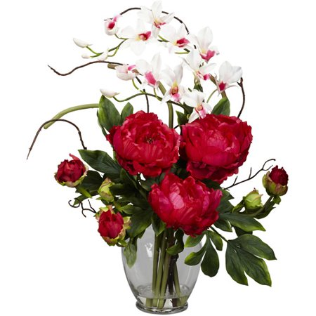 Nearly Natural Peony and Orchid Silk Flower Arrangement, Red (Silk Red Orchids)
