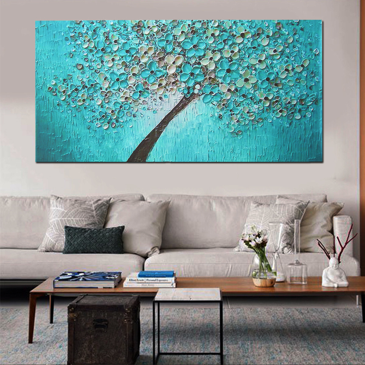 Unframed Print Canvas Blue Plum Flower Oil Painting Picture Home Bedroom Wall Art Decor 24''x47''
