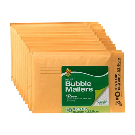 Duck Brand 6 In. x 9 In. (Size 0) Kraft Bubble Mailers, 12-Pack