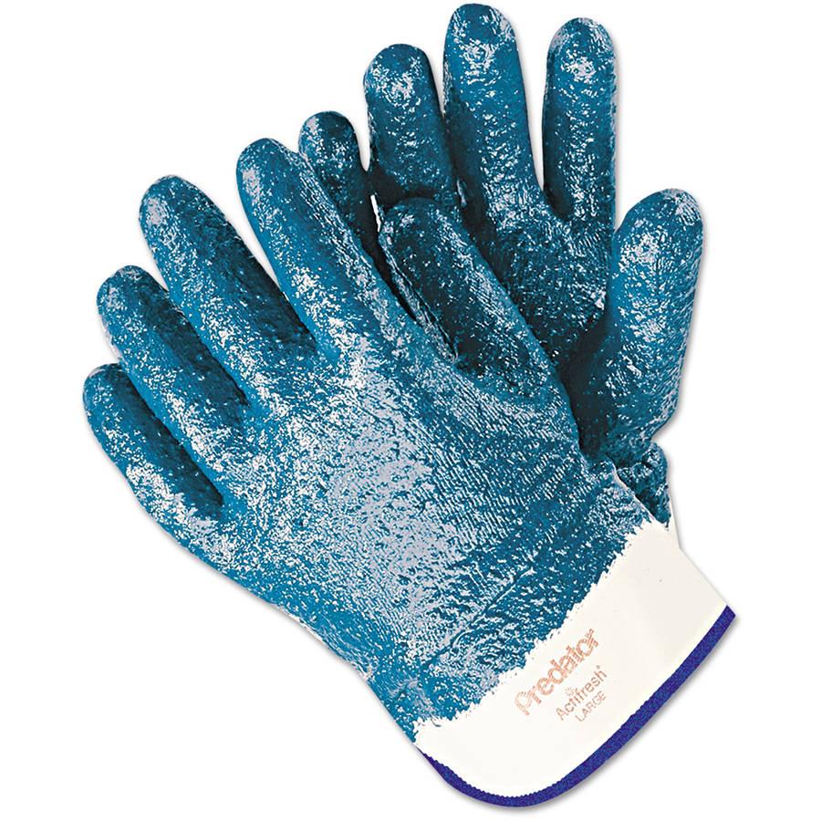 Memphis Predator Premium Nitrile-Coated Gloves, Blue/White, Large, 12 Pairs