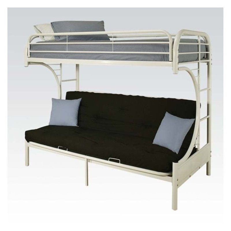 Rosebery Kids Metal Twin Over Futon Bunk Bed in White