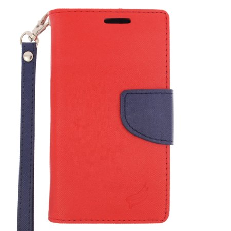 Insten Flip Leather Fabric Cover Stand Credit Card Case Lanyard For Alcatel One Touch Pop Astro   Red Blue