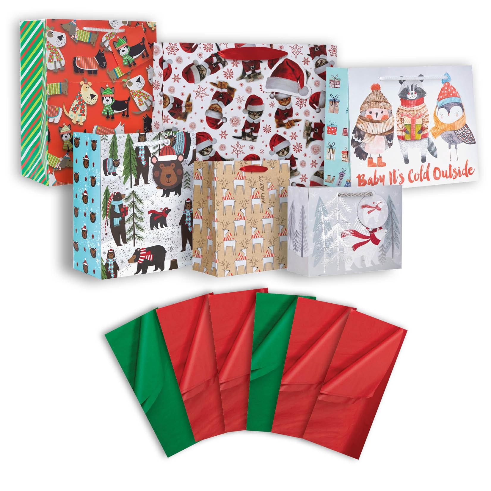 Jillson & Roberts Gift Bag & Tissue Assortment, Christmas Designs (6 Bags)
