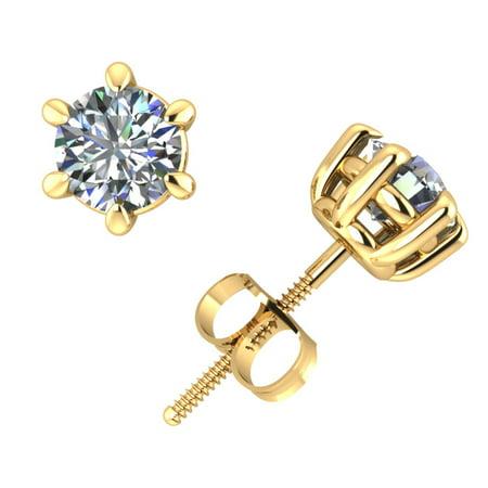 - 1/2Ct Round Cut Diamond Basket Stud Earrings 14Karat Yellow Gold Prong ScrewBack G SI1