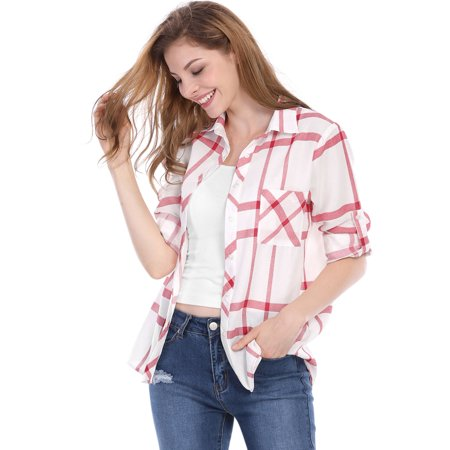Women's Boyfriend Roll-up Long Sleeves Buttoned Plaid Shirt Red M (US 10)