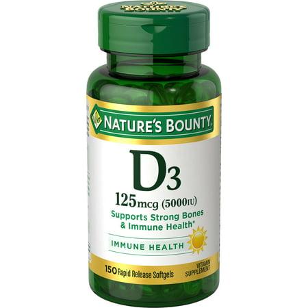 Nature's Bounty® Vitamin D3 125 mcg (5000 IU), 150 Softgels 150 Softgels Healthy
