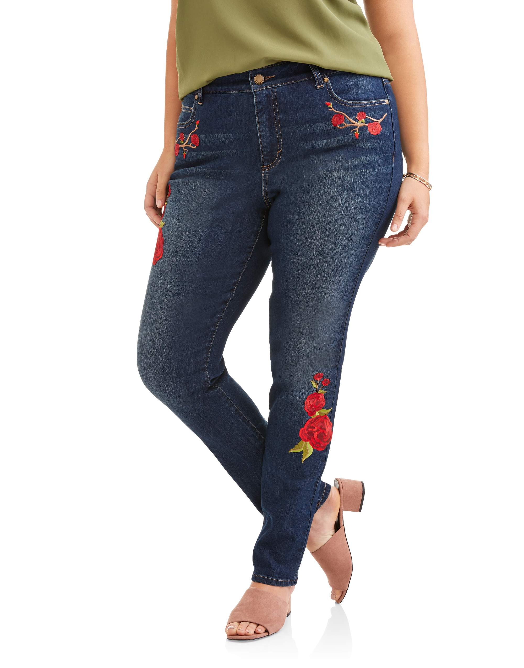 Women's Plus Embroidered Rose Patched Jean