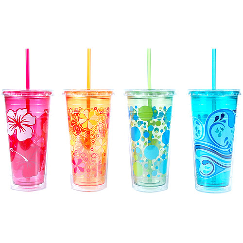 Cool Gear 24-Ounce Double Wall Chiller with Graphics, Set of 4