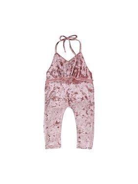 3810ff39c366 Product Image Baby Little Girls Sling Halter Backless Velvet Romper  Jumpsuit Bodysuit Harem Pants Outfits