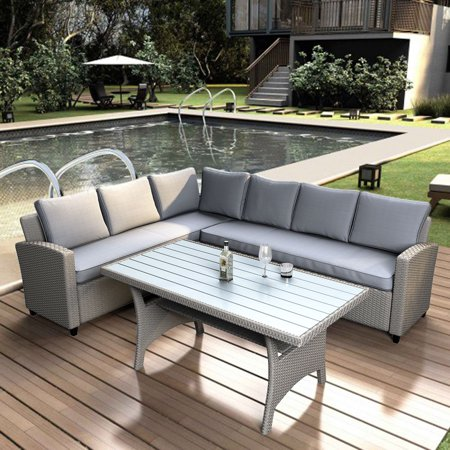 Top Knobs Patio Dining Table Set Outdoor Furniture PE Rattan Wicker Conversation Set All-Weather Sectional Sofa Set with Table & Soft Cushions (Grey) ()